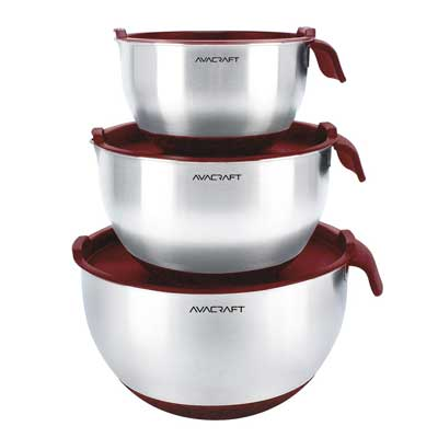 9. AVACRAFT Stainless Steel Mixing Bowl set