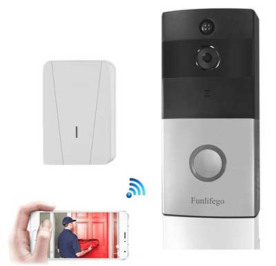 1. Funlifego Smart Doorbell, WiFi Video Doorbell with Built-in 8G