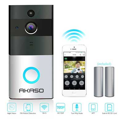 5. AKASO Video Doorbell, 720P HD, Wifi Security Camera with 8G Memory
