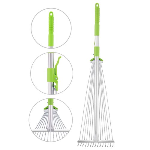 C2F Garden Lawn Leaf Rake 61 Inch Adjustable and Telescopic Metal Rake Tool for Yard