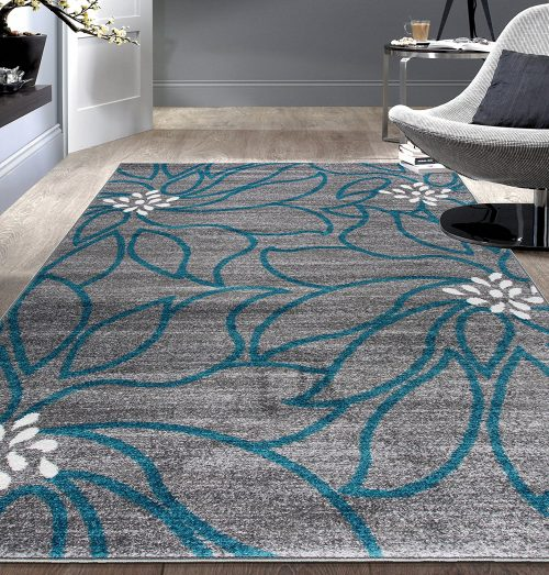 "Contemporary Large Floral Soft Area Rug 7' 10"" x 10' Blue"