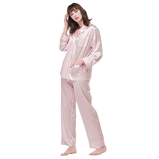 LilySilk Women's Long Silk Pajamas Set