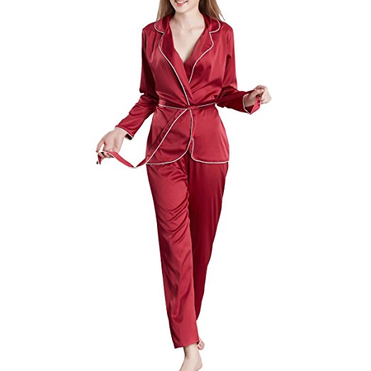 MANSIDUN Womens Silk Satin Pajamas Set