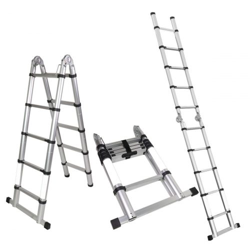 Magshion A-Frame Aluminum Ladder Telescopic Extension Tall Multi Purpose EN131
