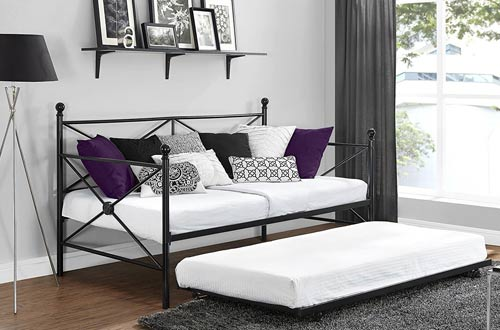 DHP Sturdy Modern Metal Daybed Roll Out Trundle Combo