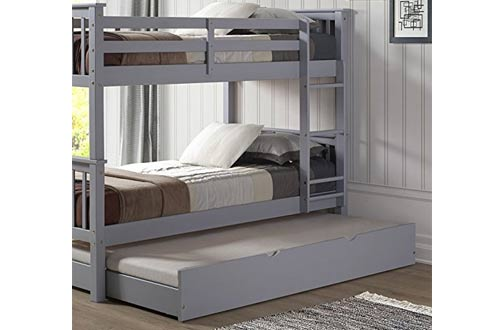 WE Furniture Solid Wood Trundle Bed,
