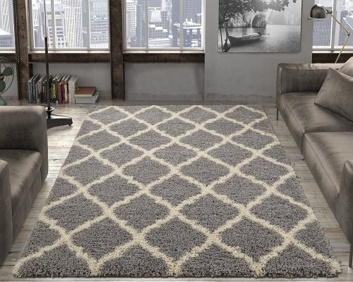 Ottomanson Ultimate Shaggy Collection Moroccan Trellis Design Shag Rug