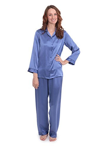 Roll over image to zoom in TexereSilk Women's 100% Silk Pajama Set