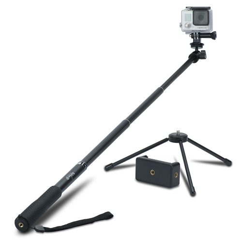 48103717efafed Review XP Selfie Stick Extendable Monopod with Universal Tripod Stand for  GoPro Hero 5/4/3
