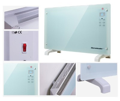 Homeleader Electric Panel Heater GH-15F, Crystal Glass Flat Convector Heater 1500W White