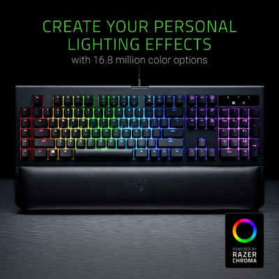 Razer BlackWidow Chroma V2 - RGB Mechanical Gaming Keyboard - Ergonomic Wrist Rest