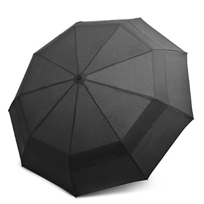 EEZ-Y Compact Travel Umbrella w: Windproof Double Canopy Construction Auto Open Close