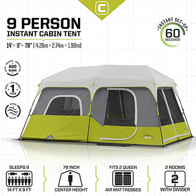 CORE Equipment 9 Person 14' x 9' Instant Cabin Tent