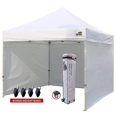 Eurmax Ez Pop-up Canopy Tent Commercial Instant Tent, 10'x10' with removable zipper end side walls