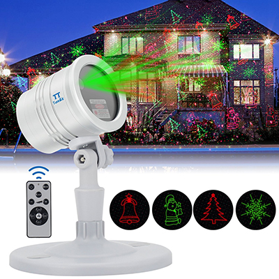 Tunnkit Outdoor Christmas Laser Lights Projector, Red & Green Laser Color