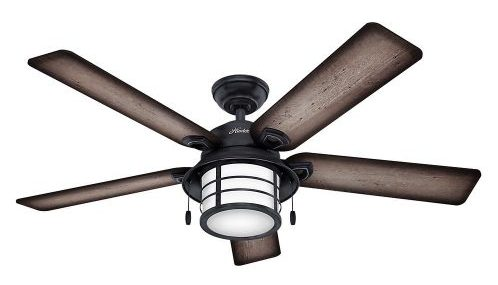 """Hunter 59135 Key Biscayne 54"""" Weathered Zinc Ceiling Fan with Five Burnished Gray"""