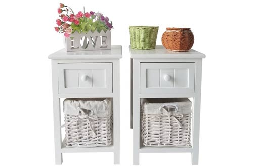 SUNCOO Retro White Wood Shabby Chic Nightstand End Side Bedside
