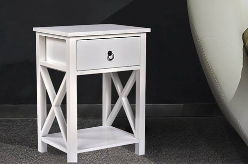 Wooden X-Design Side End Table Night Stand