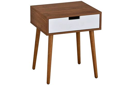 Light Walnut/White Side End Table Nighstand with Drawer