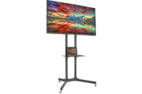 VIVO Black TV Cart for Plasma Flat