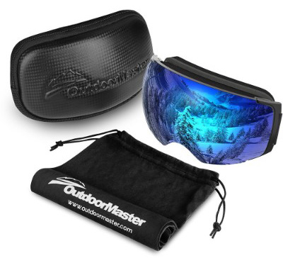 OutdoorMaster Ski Goggles PRO - Frameless, Interchangeable Lens 100% UV400 Protection