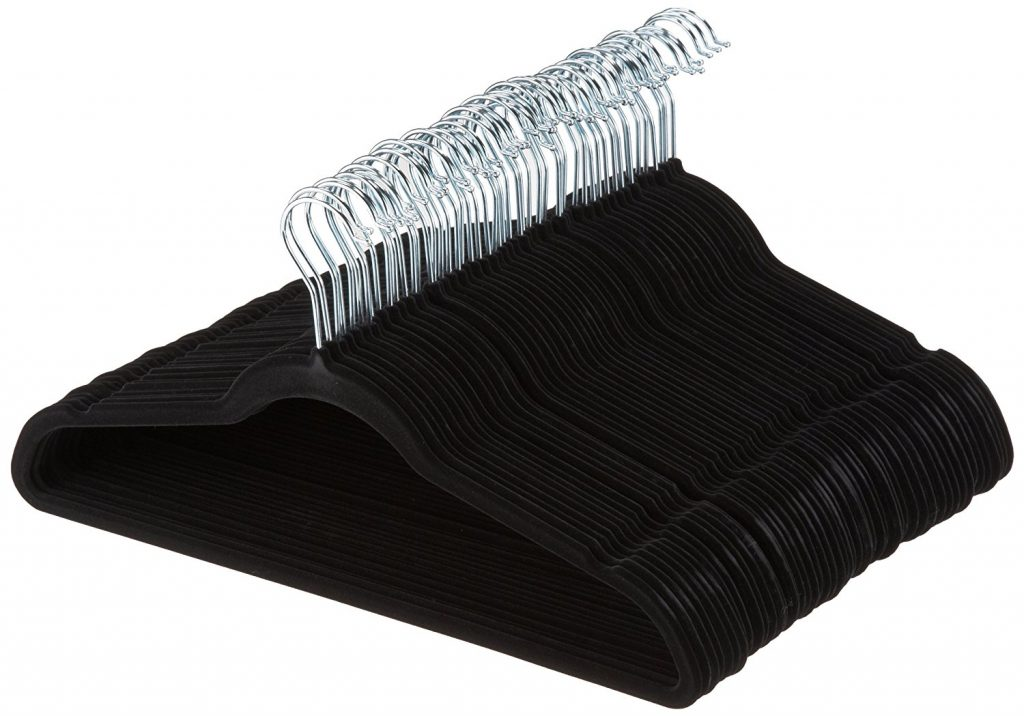1. AmazonBasics Velvet Suit Hangers - 50-Pack, Black- Best Suit Hangers Set