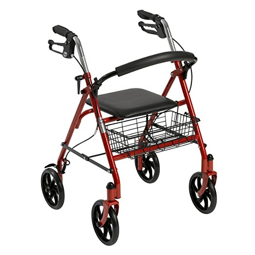 1. Drive Medical Four Wheel Rollator with Fold Up Removable Back Support, Red