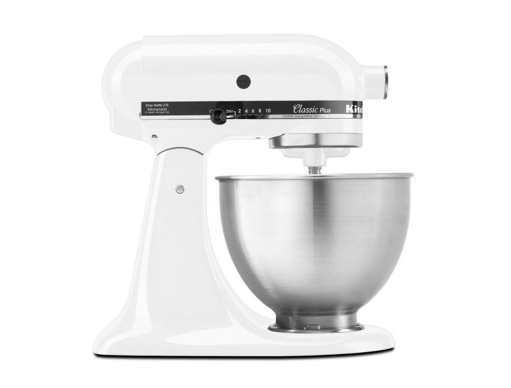 1. KitchenAid KSM75WH Classic Plus Series 4.5-Quart Tilt-Head Stand Mixer, White
