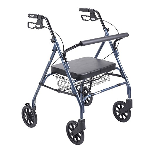 10. Drive Medical Heavy Duty Bariatric Walker Rollator with Large Padded Seat, Blue
