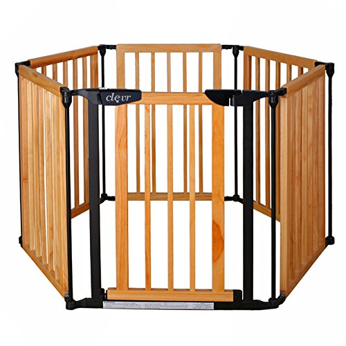 10. New Clevr 3-in-1 Baby 6 Panel Playard Playard Wooden Gate Fence