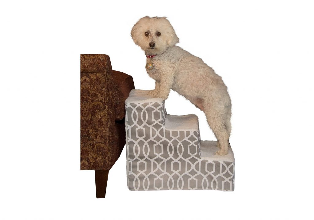10. Pet Gear Soft Step Pet Stairs for Pets up to 50 lbs., Trellis Print