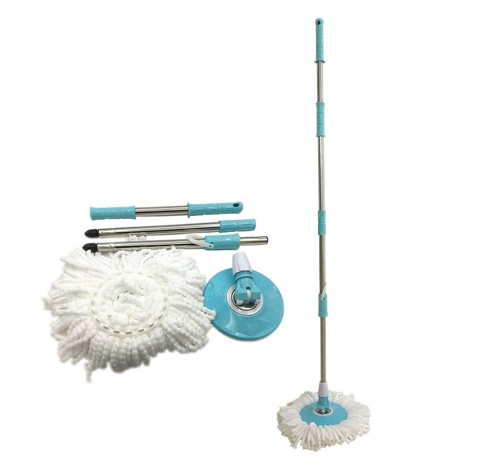 10. Spin Easy Mop Handle Pole Replacement-Suitable for Press Type Buckets for Floor Mop 360 Bucket with or without Foot Pedal Version by Buyplus (light blue)
