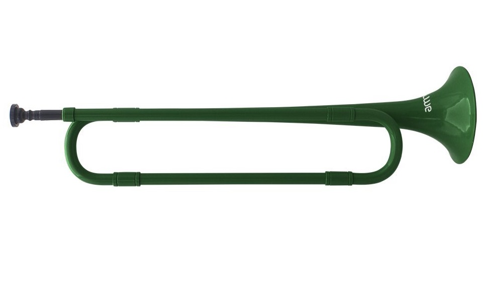 10. ammoon B Flat Bugle Cavalry Trumpet Environmentally Friendly Plastic with Mouthpiece for Band School Student (Green)