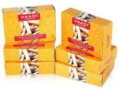 Vaadi Herbals Sandalwood Oil Bar Soap, 2.65 Oz., Pack of 6