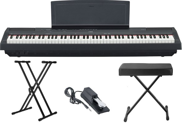 Yamaha P115 88 Weighted-Key Digital Piano Bundle with Knox Double X Stand