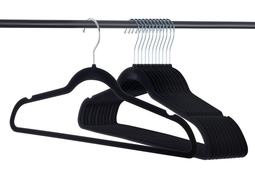 2. Premium Velvet Hangers Heavy duty - 50 Pack Clothes Hangers - Non slip Black Suit hangers - Clothes Hanger Hook swivel 360 - Ultra Thin