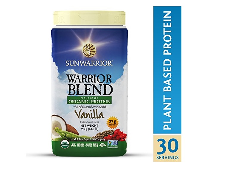 2. Sunwarrior - Warrior Blend, Raw, Plant Based, Organic Protein, Vanilla, 30 servings