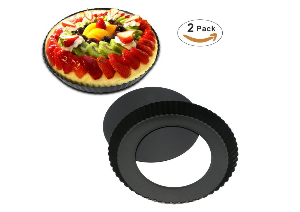 2. TedGem 2 Pack 8.8 Inches Non-Stick Removable Loose Bottom Quiche Tart Pan, Tart Pie Pan, Round Tart Quiche Pan with Removable Base