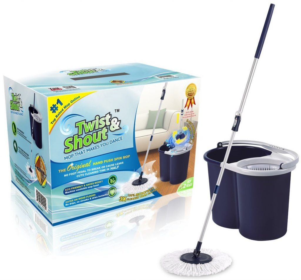 2. Twist and Shout Mop - The Original Hand Push Spin Mop - Life Time Warranty - 2 Microfiber Mop Heads Included