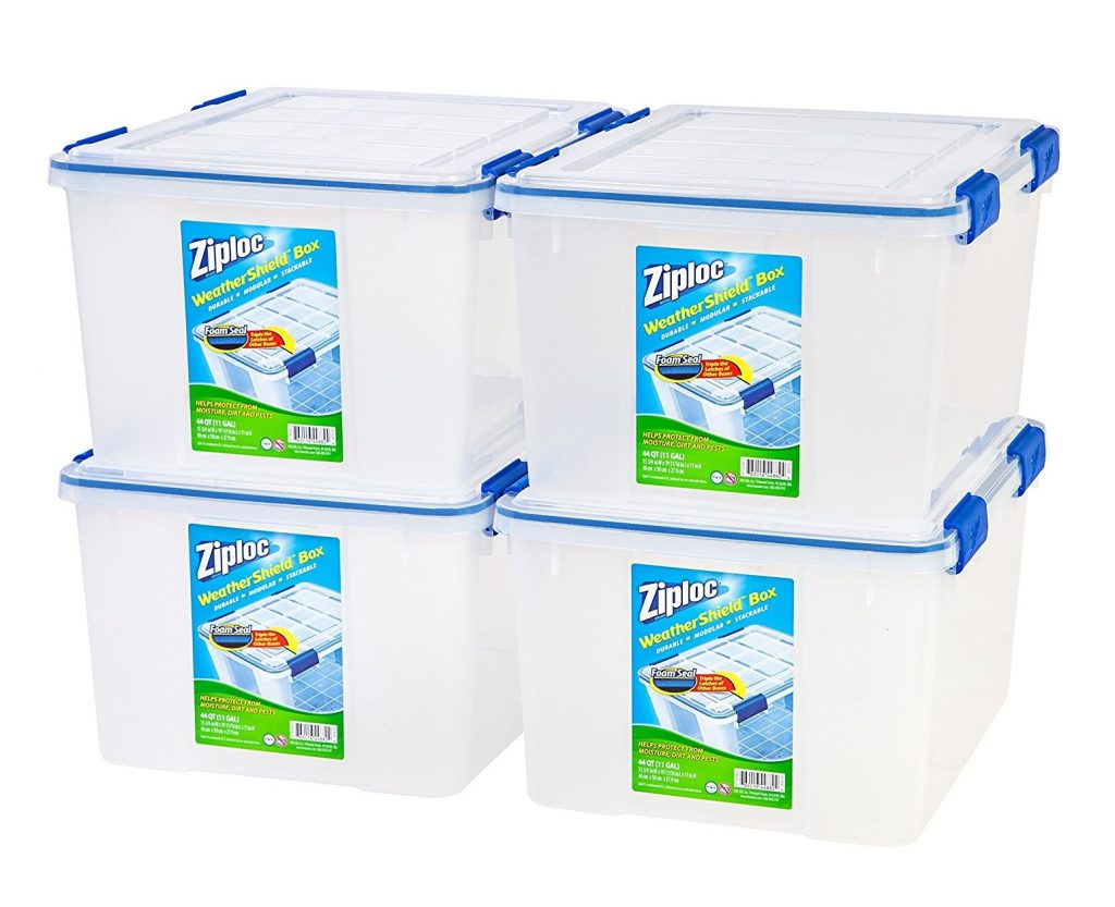 2. Ziploc WeatherShield 44 Quart Storage Box, 4 Pack, Clear