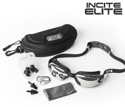 Swimming Goggles with Protective Case, Nose Clip, and Ear Plugs