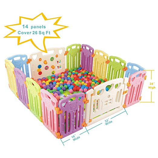 3. Baby Playpen Kids Activity Centre Safety Play Yard Home Indoor Outdoor New Pen (multicolour, Classic set 14 panel)