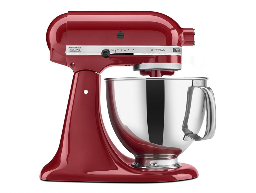 3. KitchenAid KSM150PSER Artisan Tilt-Head Stand Mixer with Pouring Shield, 5-Quart, Empire Red