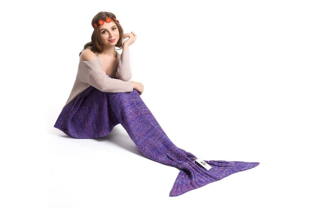 3. Kpblis Warm and Soft Mermaid Tail Blanket Knitted Mermaid Blanket for Kids and Adult 71-35-inches