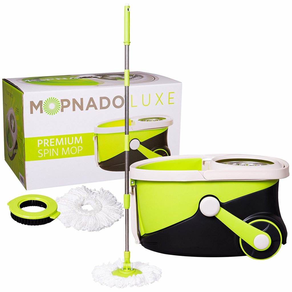 3. Mopnado Stainless Steel Deluxe Rolling Spin Mop with 2 Microfiber Mop Heads - Lime