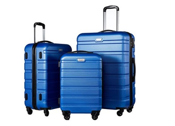 4. Coolife Luggage 3 Piece Set Suitcase Spinner Hardshell Lightweight