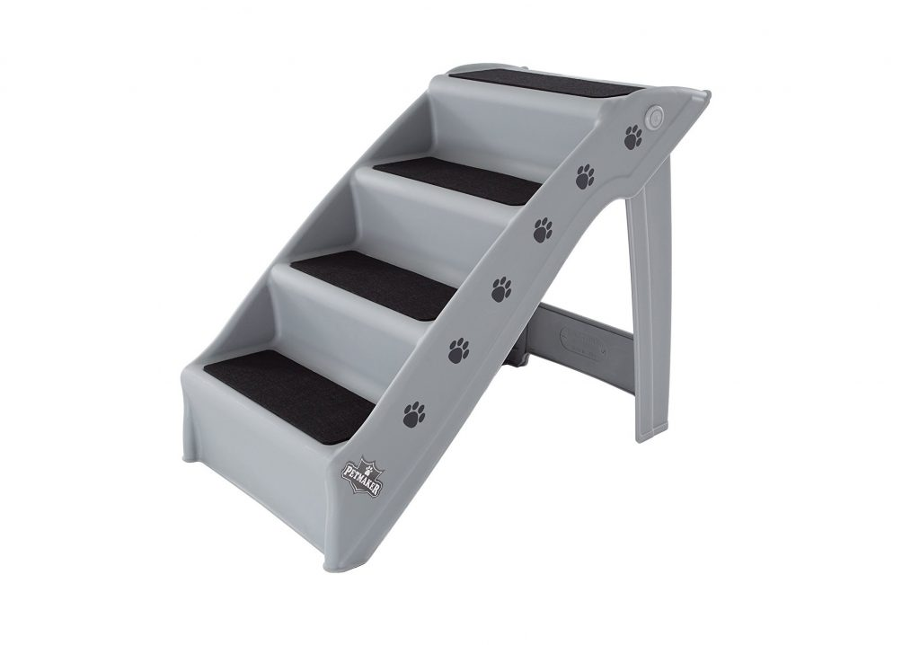 4. Folding Plastic Pet Stairs Durable Indoor or Outdoor 4 Step Design With Built