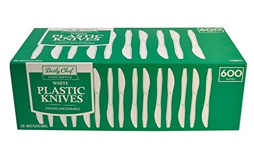 5. Daily Chef White Plastic Knives, 600 Count