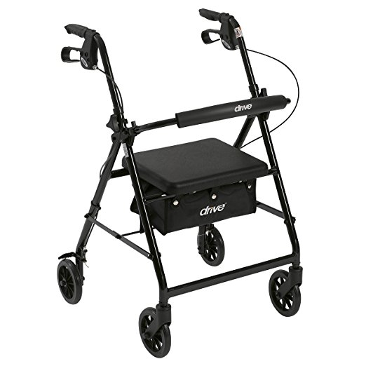 5. Drive Medical Aluminum Rollator Walker Fold Up and Removable Back Support