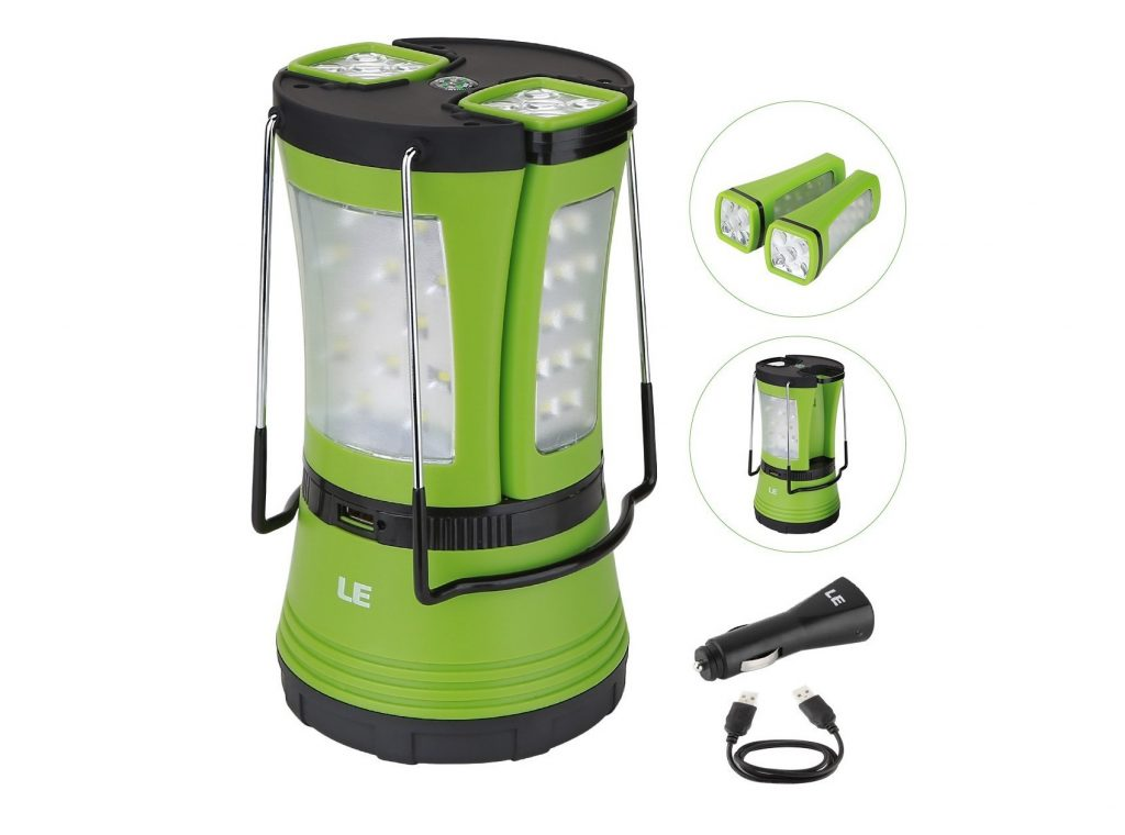 5. LE 600lm Rechargeable LED Camping Lantern Detachable Portable Flashlight